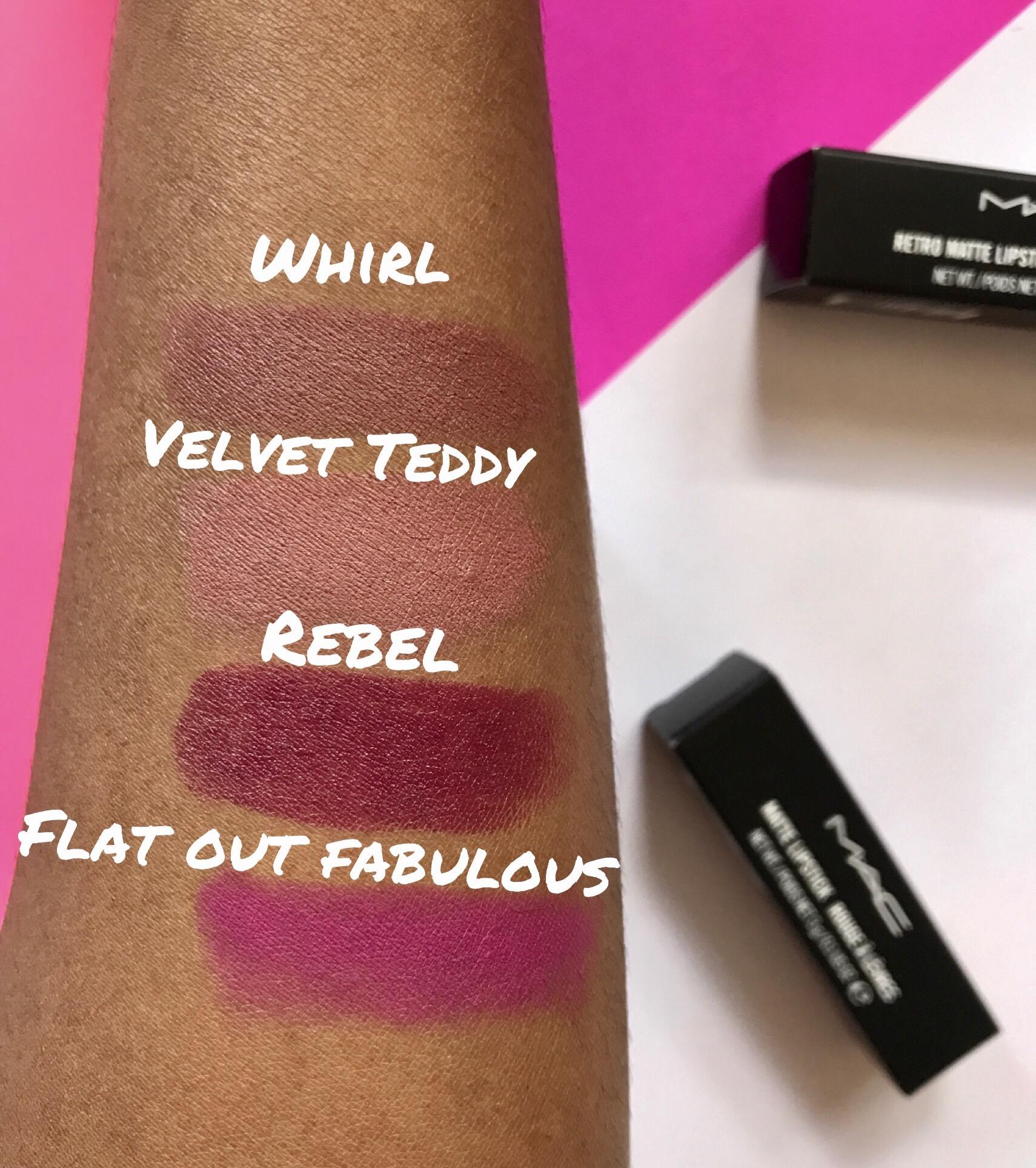 Famoso BEST of MAC Lipsticks: Velvet Teddy, Whirl, Rebel, Flat Out  XQ19